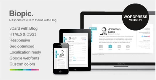 Biopic - Responsive Resume WordPress Themes