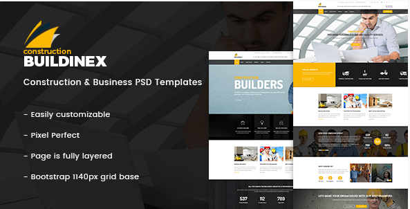 Buildinex - Construction & Business PSD Templates