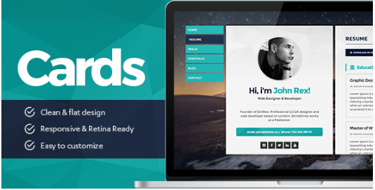 Cards - Personal vCard, Resume/CV & Portfolio WordPress Theme