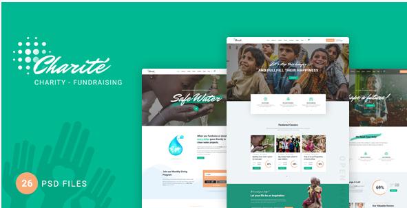 Charité - Charity Nonprofit PSD Template