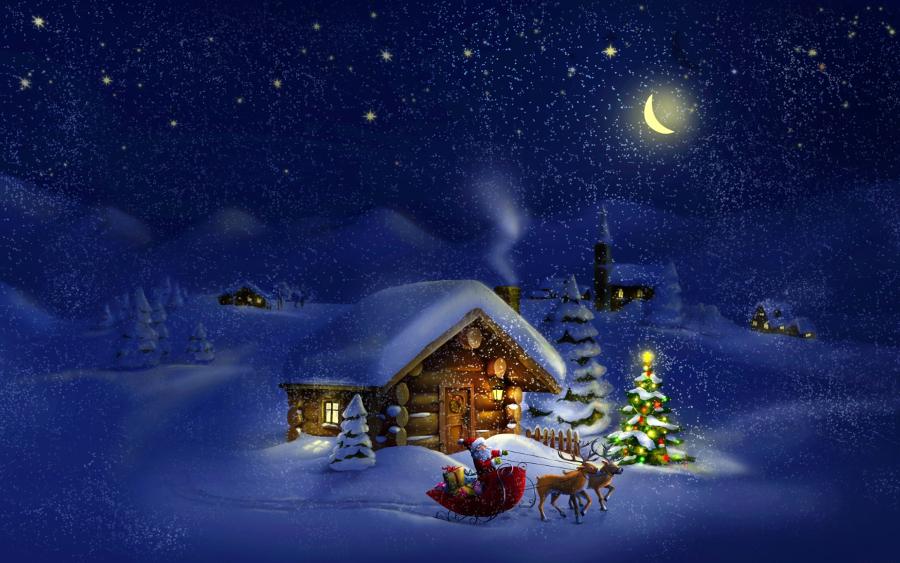 Christmas-Night-Santa-with-Reindeers