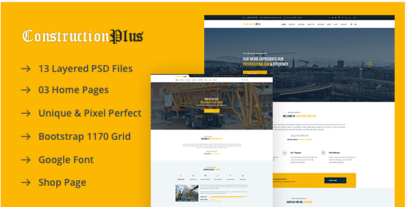 Construction Plus PSD Template
