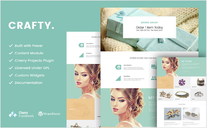 Crafty - Handmade Jewelry Artist WordPress Theme