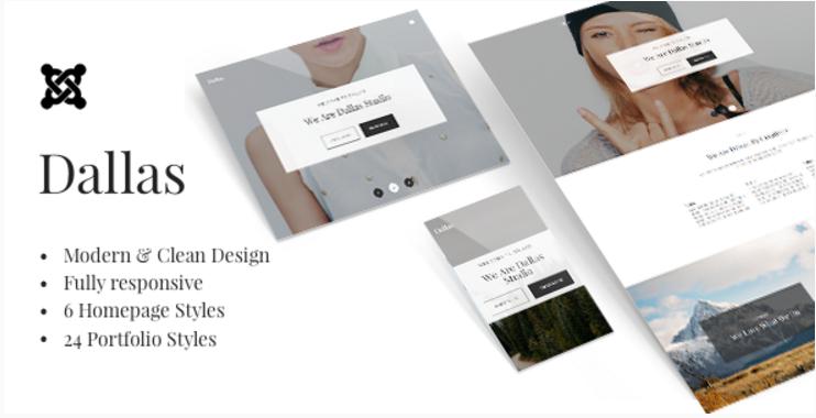 Dallas - Minimalistic Agency, Portfolio & Photography Joomla Template