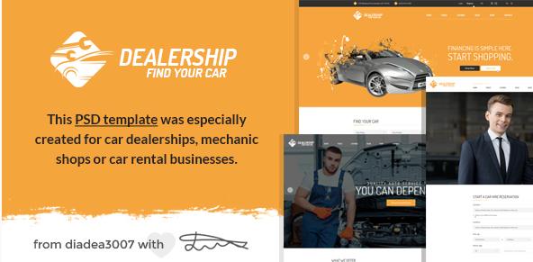 Dealership - Car Dealership, Mechanic & Rental PSD Template