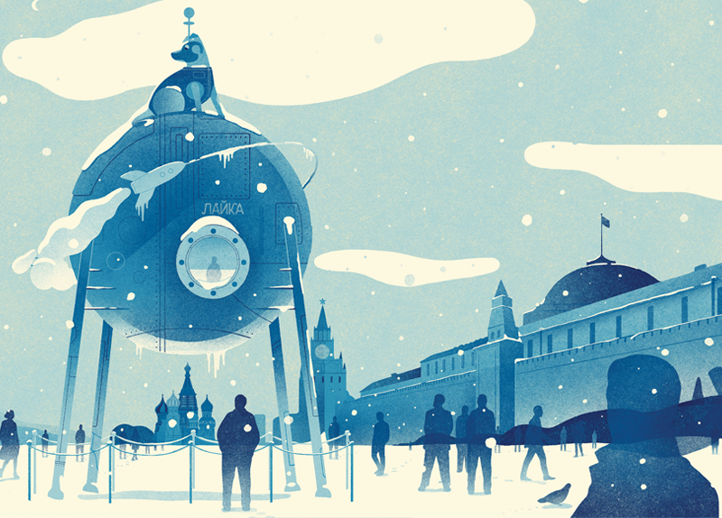 Editorial-illustration-of-Laika-Moscow