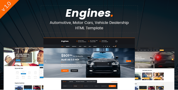 Engines - Automotive, Motor Cars, Vehicle Dealership Responsive Site Template
