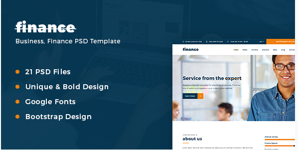 Finance – Business, Finance PSD Template