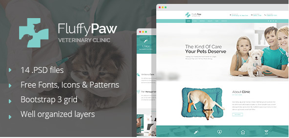 FluffyPaw - modern pet care and veterinary PSD Template
