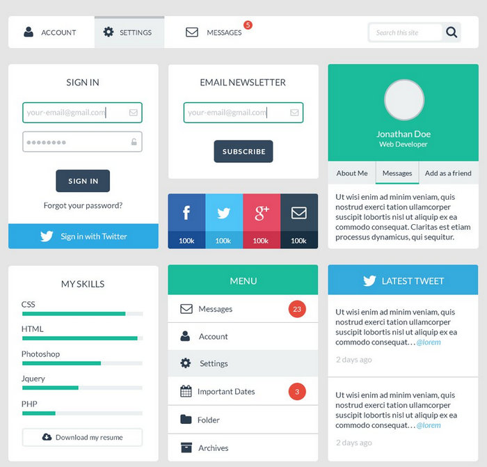 Free Web User Interface Design PSD