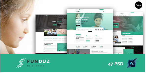 FunDuz - Charity Crowdfunding & Volunteers PSD Template