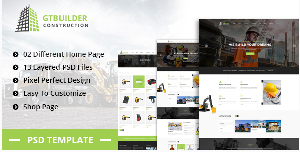 GTBUILDER  Building & Construction PSD Template