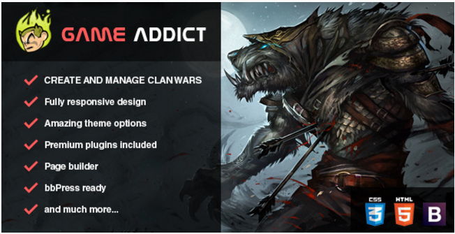 Game Addict - Clan War Gaming Themes WordPress