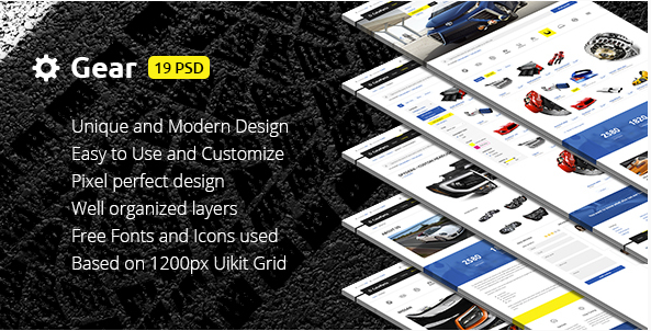 Gear — Automotive Business Auto Parts Store PSD Template