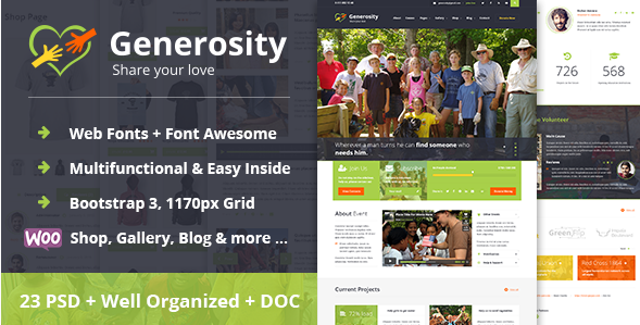 Generosity - Charity Nonprofit PSD Template