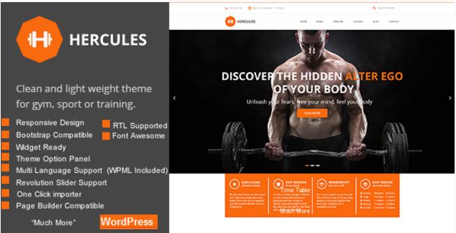 Gym Hercules Gym Fitness WordPress Theme
