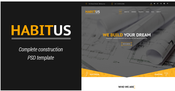 Habitus - Construction PSD Template
