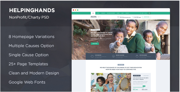 HelpingHands - NonProfit Charity PSD