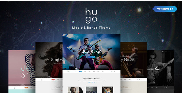 Hugo Music & Bands PSD Theme