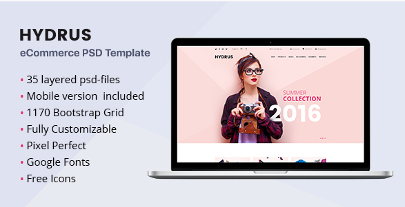 Hydrus - Fashion eCommerce PSD template