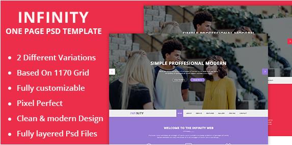 Infinity Onepage Creative PSD Template