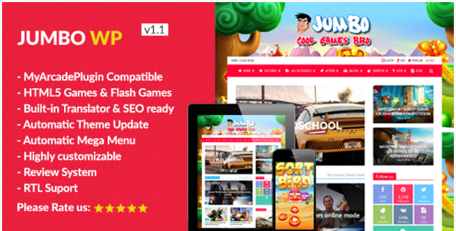 Jumbo - WordPress Magazine & Arcade Theme for HTML5 Games