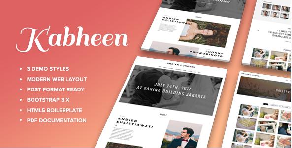 KABHEEN - Modern Wedding Web Template