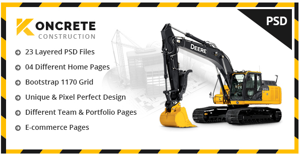 Koncrete - Construction & Building PSD Template