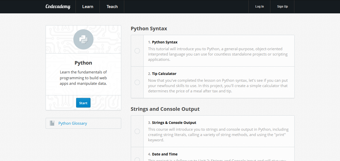 Learn-Python-Programming-I-Codecademy-Online-Tutorials