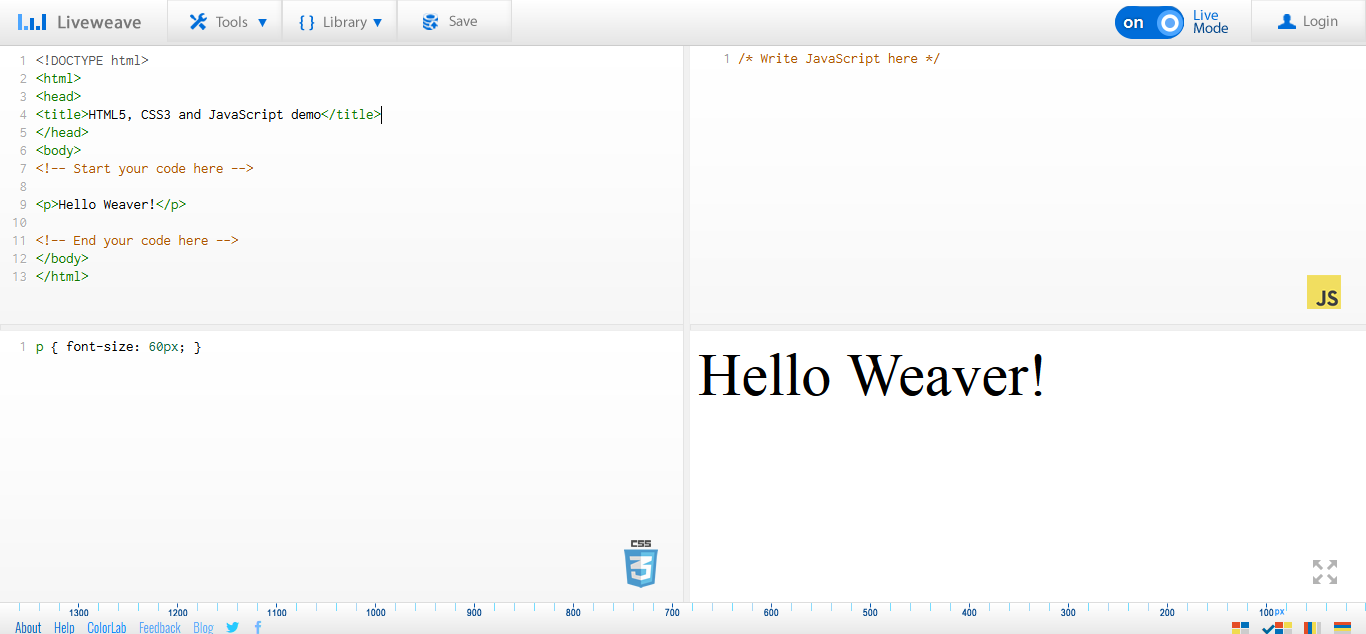 Liveweave-HTML5-CSS3-JavaScript-playground-for-web-designers-developers