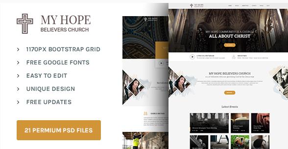 MY HOPE Church PSD template