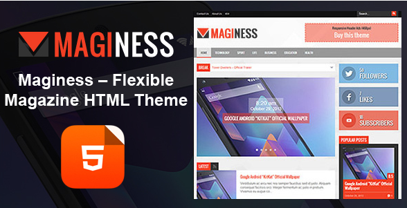 Maginess - Magazine HTML Template