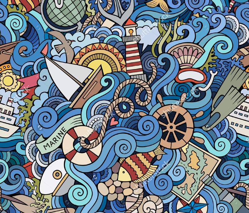 Marine-Style-Doodles-Seamless-Pattern