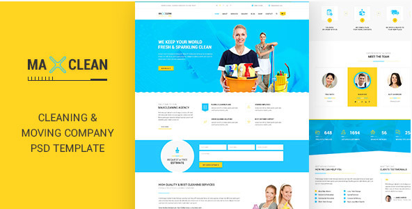 Max Cleaners & Movers - PSD Template