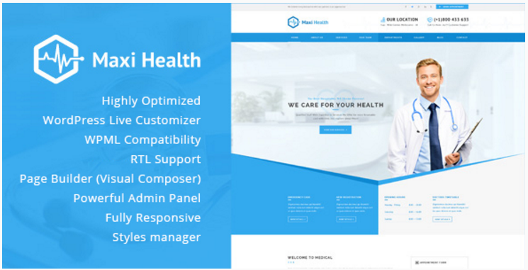 Maxi Health - Responsive Medical WordPress Theme
