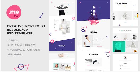 Me - Creative Portfolio & Resume  CV PSD Template