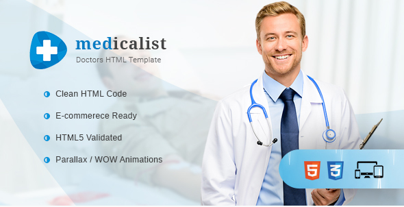 Medicalist - A Responsive HTML Template for Medical, Doctors, Dentists, Clinics and Hospitals