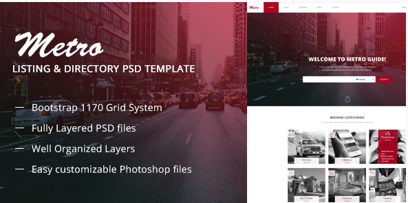 Metro Directory & Listing Multipurpose PSD Template