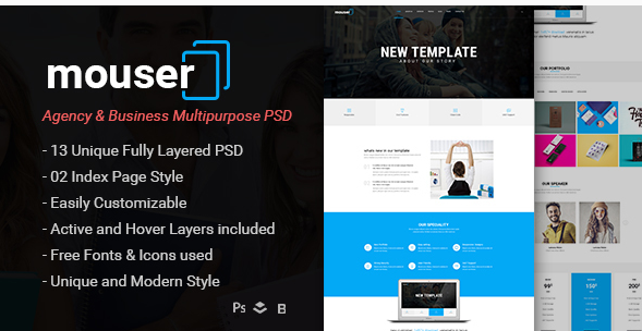 Mouser  Agency & Business Multipurpose PSD Template
