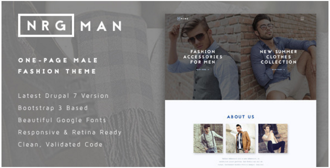 NRGman - One-Page Men's Fashion Theme