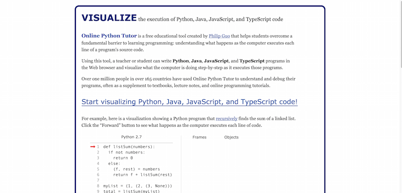 Online-Python-Tutor-Visualize-Python-Java-JavaScript-and-TypeScript-code
