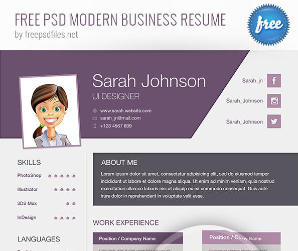 PSD Modern Business Resume