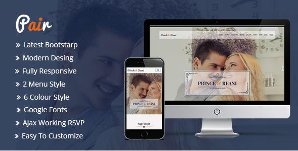 Pair Responsive HTML5 Wedding Template