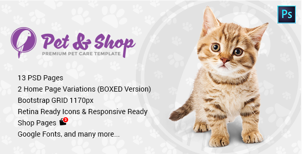 Pet & Shop  Premium Pet Care PSD Template