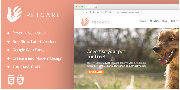 PetCare  Pet Caretakers - HTML Template