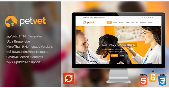 PetVet  Vet Pet Responsive Site Template