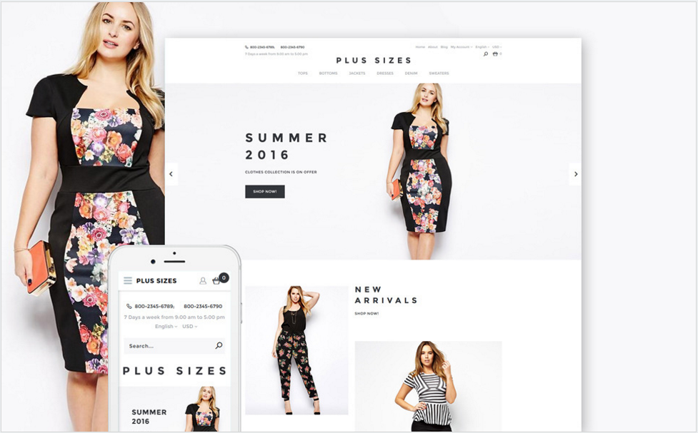 Plus Sizes OpenCart Template