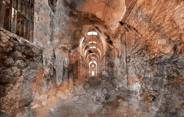 Prison-Corridor-Acrylic-Sepia-Grunge