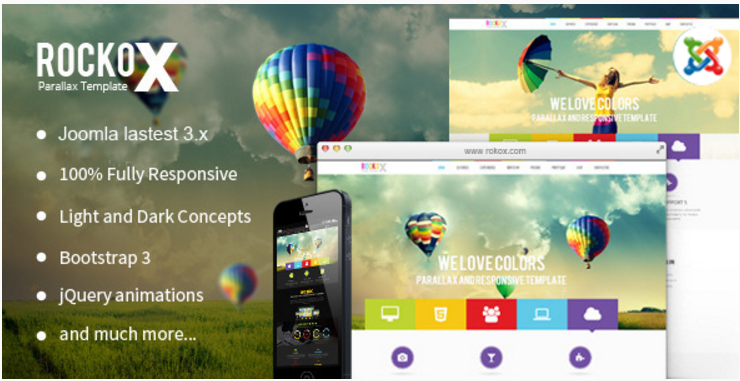 RockoX - One Page Parallax Joomla Template