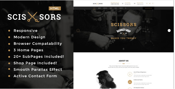 Scissors Salon & Hair Styling HTML Template